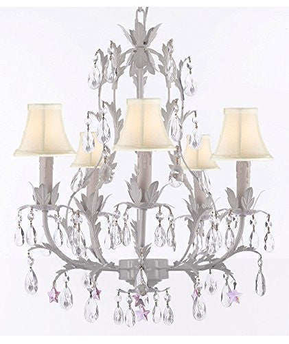 White Wrought Iron Floral Chandelier Lighting W/ Pink Stars And Shades - J10-Sc/Whiteshade/B38/White/26016/5