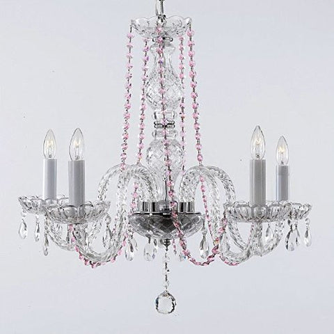 Crystal Chandelier Lighting With Pink Color Crystal - A46-Pinkb1/384/5
