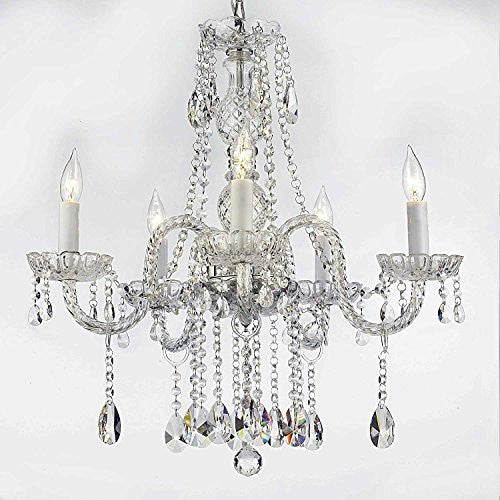 "Swarovski Crystal Trimmed Chandelier Authentic All Crystal Chandeliers Lighting Chandeliers H27"" X W24"" - A46-B14/384/5 Sw"