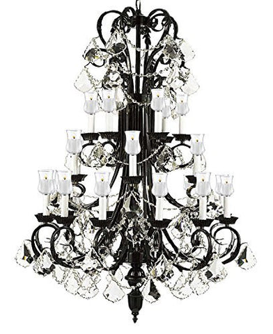 "Crystal Chandelier W/ Candle Votives H50"" X W30"" - For Indoor / Outdoor Use! Great For Outdoor Events, Hang From Trees / Gazebo / Pergola / Porch / Patio / Tent ! - A84-B13/B31/724/24"