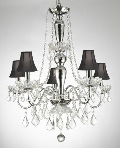 Elegant 5 Light Crystal Chandelier Pendant Lighting Fixture Light Lamp W/ Shades - J10-Blackshades/26017/5