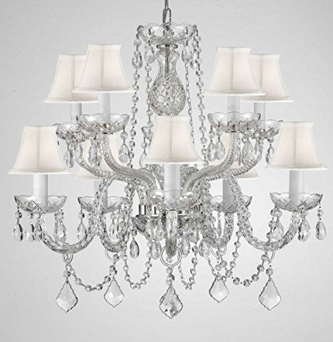 "Empress Crystal (Tm) Chandelier Lighting With White Shades H 25"" X W 24"" Swag Plug In-Chandelier W/ 14' Feet Of Hanging Chain And Wire - G46-B15/Whiteshades/Cs/1122/5+5"