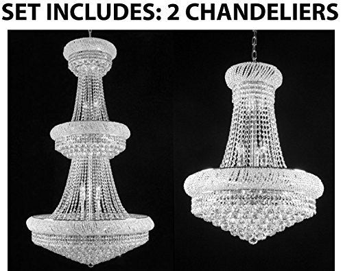 Set Of 2 - 1 For Entryway/Foyer And 1 For Dining Room French Empire Empress Crystal (Tm) Chandeliers Chandelier Lighting - 1Ea Cs/541/32 + 1Ea Cs/542/15