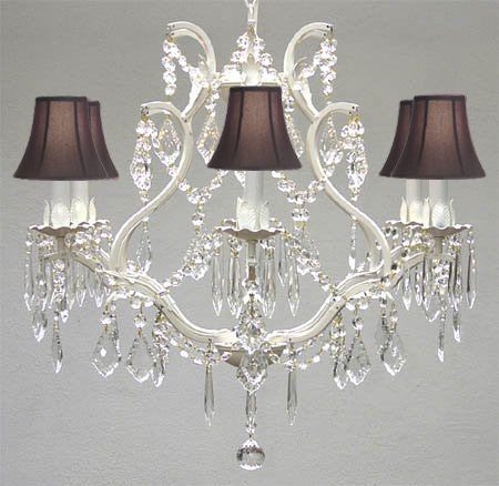 "Wrought Iron Crystal Chandelier Lighting H 19"" W 20"" - With Black Shades - A83-Blackshades/White/3530/6"