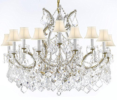 "Maria Theresa Chandelier Crystal Lighting Chandeliers Lights Fixture Pendant Ceiling Lamp For Dining Room Entryway Living Room With Large Luxe Diamond Cut Crystals H28"" X W37"" - A83-B89/Whiteshades/21510/15+1Dc"