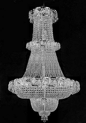"Swarovski Crystal Trimmed Chandelier French Empire Crystal Chandelier Lighting 60""X36"" - J10-Silver/928/32Sw"