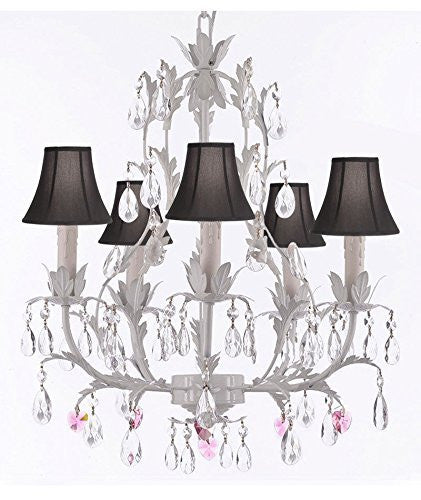 White Wrought Iron Floral Chandelier Lighting W/ Pink Hearts And Shades - J10-Sc/Blackshade/B21/White/26016/5