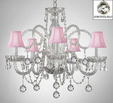 Swarovski Crystal Trimmed Chandelier! Crystal Chandelier With Pink Shades & Crystal Balls - A46-B6/Pinkshades/385/5 Sw