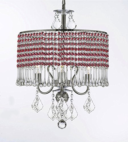 "Contemporary 3-Light Crystal Chandelier Chandeliers Lighting With Ruby Red Crystal Shade W 16"" X H 21"" - G7-B81/Silver/1000/3"