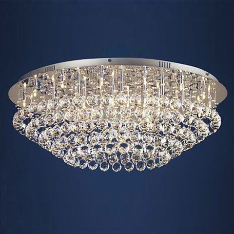 "Flush Crystal Chandelier Lighting With Crystal Balls H11"" X W33"" - G902-6820-36"