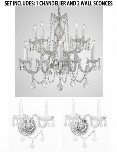 "Set Of 3 - 1 Crystal Lighting Chandeliers H25"" X W24"" And 2 Murano Venetian Style Crystal Wall Sconce Lighting - 1Ea 1122/5+5 + 2Ea B12/2/386"