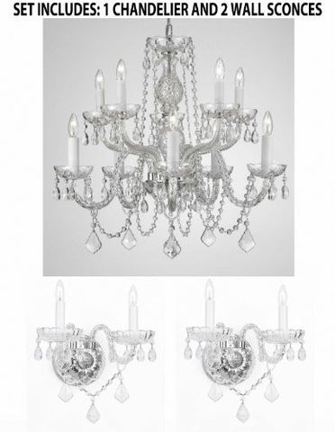 "Set Of 3 - 1 Crystal Lighting Chandeliers H25"" X W24"" And 2 Murano Venetian Style Crystal Wall Sconce Lighting! - 1Ea 1122/5+5 + 2Ea B12/2/386"