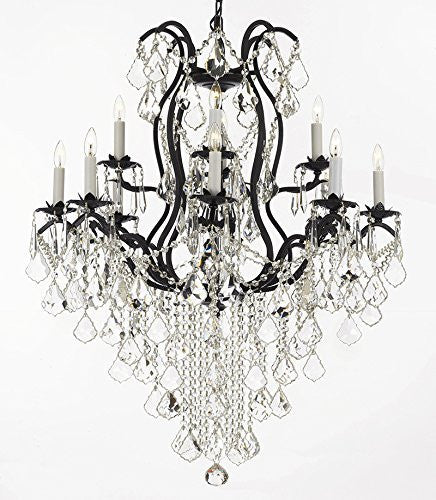 "Wrought Iron Empress Crystal (Tm) Chandelier Lighting H40"" X W28"" - F83-B12/3034/8+4"
