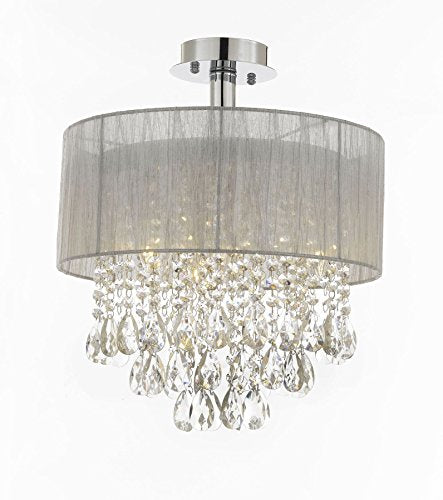 "Silver and Crystal 15""W Ceiling Light Chandelier Pendant Flush Mount - T205-01004"