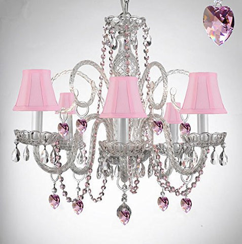 Empress Crystal (Tm) Chandelier Lighting With Pink Color Crystal And Pink Shades Swag Plug In-Chandelier W/ 14' Feet Of Hanging Chain And Wire - A46-B15/B41/Sc/385/5-Pink Shades