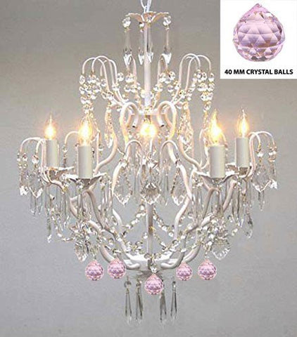 Wrought Iron & Crystal Chandelier Authentic Empress Crystal(Tm) Chandelier Lighting Chandeliers With Pink Balls! Nursery, Kids, Girls Bedrooms, Kitchen, Etc. - P7-White/B76/C/3033/5
