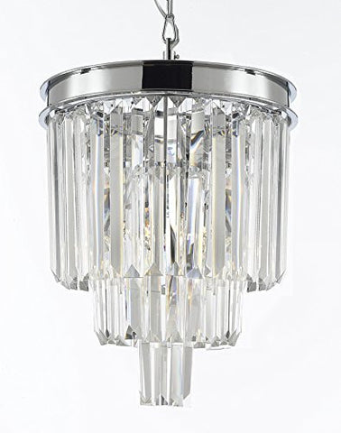 "Palladium Empress Crystal (Tm) Glass Fringe 3-Tier Chandelier Lighting Chrome Finish H15"" W12"" - G7-2164/3"
