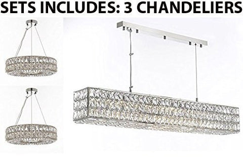 "Set Of 3 - 2 Crystal Spiridon Ring Chandeliers Modern / Lighting Pendant 20"" Wide And 1 Crystal Spiridon Linear Chandeliers Modern / Lighting Pendant 48.5"" Wide - Good For Dining Room Foyer Entryway - 2 Ea Gb104-3063/8 + 1 Ea Gb104-3063/10"