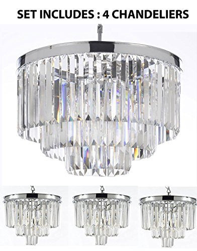 "Set Of 4 Chandeliers: 1 Odeon Crystal Glass Fringe 3-Tier Chandelier H 21.50"" W 19.75"" + 3 Odeon Crystal Glass Fringe 3-Tier Chandeliers H 15"" W 12"" - Chandeliers Lighting Chrome Finish - 1Ea 2164/9+3Ea 2164/3"