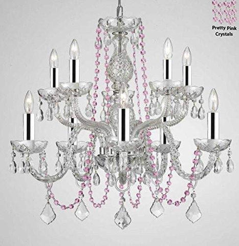 "Authentic All Crystal Chandelier Chandeliers Lighting with Pretty Pink Crystals! Perfect for Living Room, Dining Room, Kitchen, Kid'S Bedroom W/Chrome Sleeves! H25"" W24"" - G46-B43/B84/CS/1122/5+5"