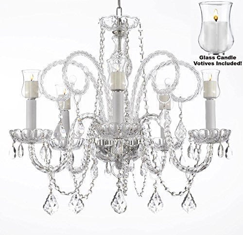 "Crystal Chandelier W/ Candle Votives H25"" X W24""- For Indoor / Outdoor Use Great For Outdoor Events Hang From Trees / Gazebo / Pergola / Porch / Patio / Tent - A46-B31/385/5"