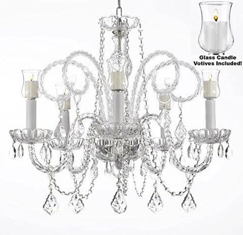 "Crystal Chandelier W/ Candle Votives H25"" X W24""- For Indoor / Outdoor Use! Great For Outdoor Events, Hang From Trees / Gazebo / Pergola / Porch / Patio / Tent ! - A46-B31/385/5"