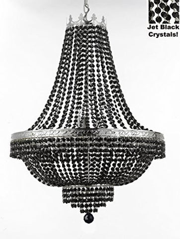 "French Empire Crystal Chandelier Lighting - Dressed With Jet Black Color Crystals Great For A Dining Room Entryway Foyer Living Room H30"" X W24"" - F93-B80/Cs/870/9"