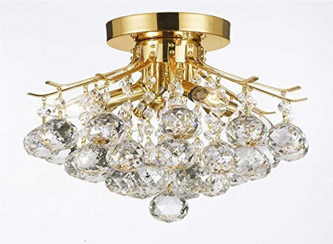 Gold Finish Crystal Chandelier With 4 Lights Lighting - G7-Cg/1132/4