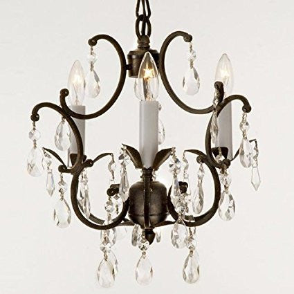 Wrought Iron Crystal Chandelier Lighting Country French 3 Lights Ceiling Fixture Wrought Country French Mini Kitchen - 618/3-us