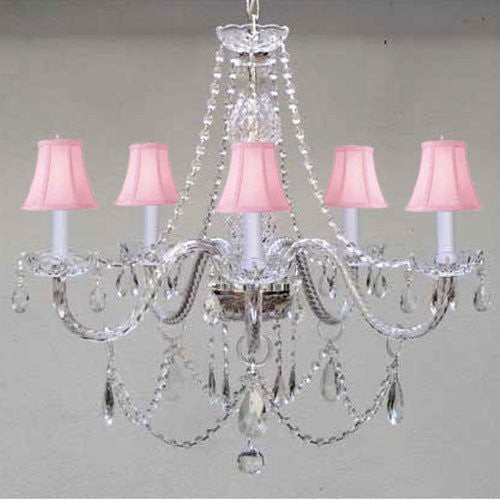"New Murano Venetial Style Authentic All Crystal Chandelier Lighting With Pink ShadesW24"" X H25"" - A46-Pinkshades/380/5"