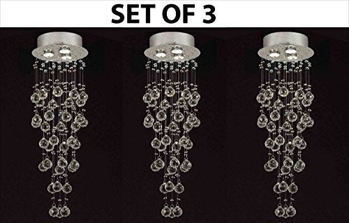 "Set Of 3 Modern Contemporary Chandelier ""Rain Drop"" Chandeliers Lighting With 40Mm Crystal Balls H31""Xw10"" - F93-815/3-Set Of 3"