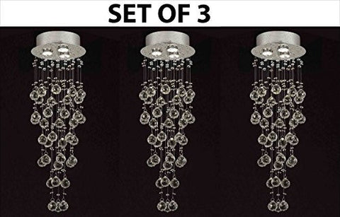 "Set Of 3 Modern Contemporary Chandelier ""Rain Drop"" Chandeliers Lighting With 40Mm Crystal Balls! H31""Xw10"" - F93-815/3-Set Of 3"