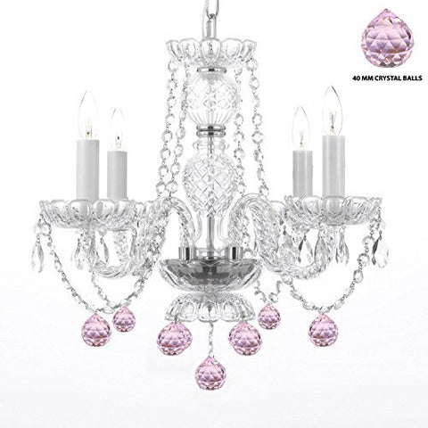 "Swarovski Crystal Trimmed Chandelier! Chandelier Lighting W/ Crystal Pink Balls! H 17"" W17"" - Perfect For Kid'S And Girls Bedroom! - G46-B76/275/4Sw"