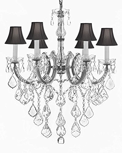 "Maria Theresa Chandelier Crystal Lighting Chandeliers With Black Shades H 30"" W 22"" - J10-Sc/B12/Silver/26067/6"