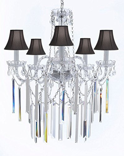 "Authentic All Empress Crystal (Tm) Chandelier Lighting Optical-Quality Fringe Prisms With Black Shades! H30"" X W24"" - G46-B40/Sc/Blackshades/3/384/5"