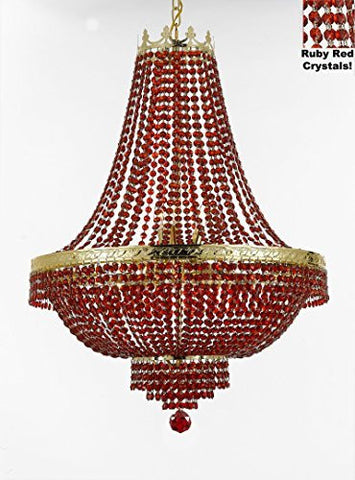 "French Empire Crystal Chandelier Lighting - Dressed With Red Beads Color Crystals Great For A Dining Room Entryway Foyer Living Room H36"" X W30"" - F93-B81/Cg/870/14"