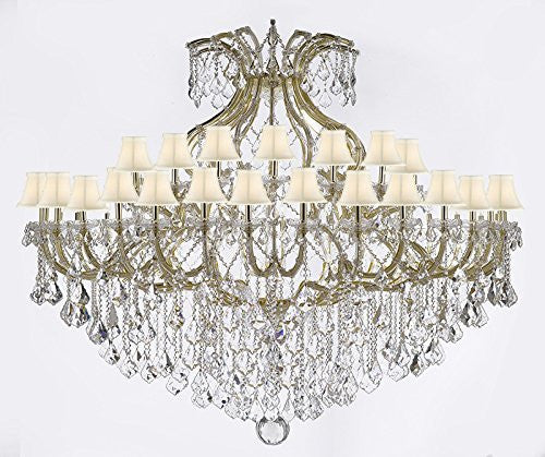 "Maria Theresa Empress Crystal (Tm) Chandelier Lighting H 60"" W 72"" With White Shades - Cjd-Sc-Cg/2181/72"