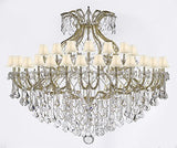 "Maria Theresa Crystal Chandelier With Shade H 60"" W 72"" Trimmed With Spectratm Crystal - Reliable Crystal Quality By Swarovski - Cjd-Sc/Whiteshadecg/2181/72Sw"