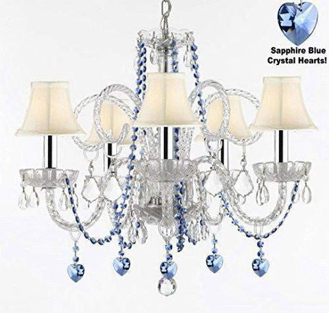 "Authentic All Crystal Chandelier Chandeliers Lighting with Sapphire Blue Crystal Hearts and White Shades! Perfect for Living Room, Dining Room, Kitchen, Kid's Bedroom w/Chrome Sleeves! H25"" W24"" - A46-B43/B85/B82/SC/WHITESHADES/385/5"