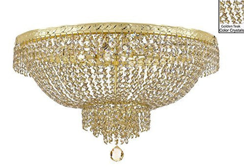 "French Empire Semi Flush Crystal Chandelier Lighting - Dressed With Golden Teak Color Crystals H18"" X W24"" - F93-B78/Flush/Cg/870/9"