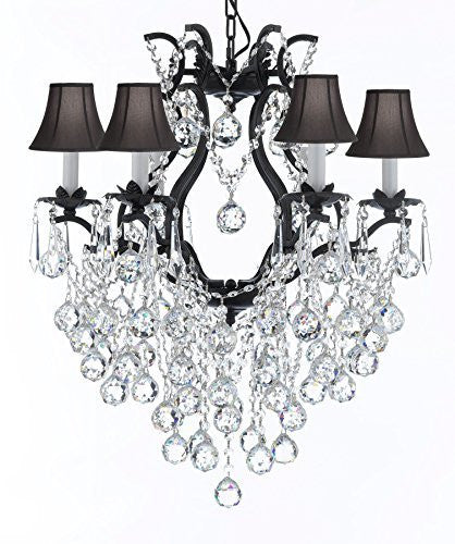 "Wrought Iron Empress Crystal (Tm) Chandelier Lighting With Black Shades H 19"" W 20"" - A83-Sc/Blackshade/B61/3530/6"