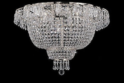 Flush French Empire Crystal Chandelier Chandeliers Lighting Silver H19.5 X Wd24 6 Lights  Flush Empire - CS/928/9-FLUSH