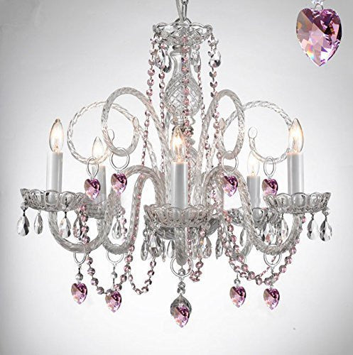 Empress Crystal (Tm) Chandelier Lighting With Color Crystal Swag Plug In-Chandelier W/ 14' Feet Of Hanging Chain And Wire - A46-B15/B41/385/5