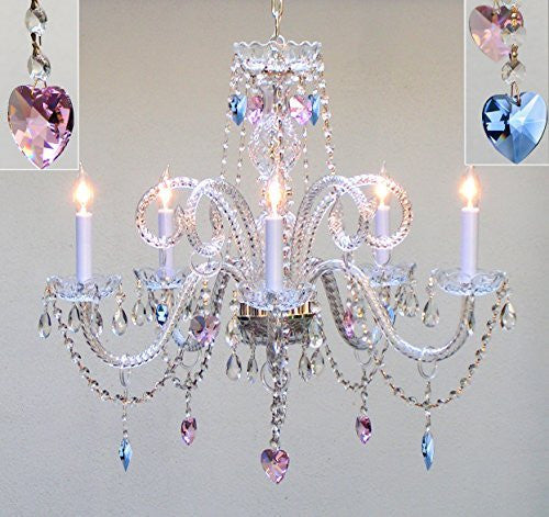 "Authentic All Crystal Chandelier Chandeliers Lighting With Sapphire Blue & Pink Crystal Hearts Perfect For Living Room Dining Room Kitchen Kid'S Bedroom H25"" W24"" - A46-B85/B21/387/5"