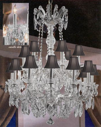 "Maria Theresa Crystal Chandelier Lighting With Black Shades 30""X28"" - A83-Sc/Blackshades/Silver/152/18"