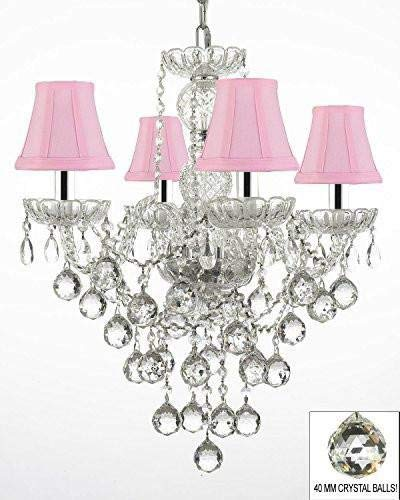 New Authentic All Crystal Chandelier Lighting Chandeliers with Pink Shades!