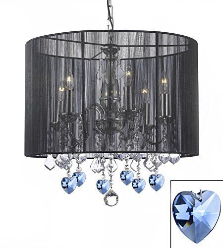 Crystal Chandelier Chandeliers With Large Black Shade And