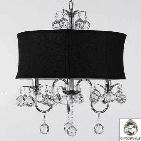 "Modern Contemporary Black Drum Shade & Crystal Ceiling Chandelier Pendant Lighting Fixture W 18"" H 22"" - J10-B6/Black/26032/3"