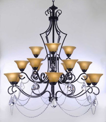 "Wrought Iron Chandelier With Crystal H51"" X W49"" - Perfect For An Entryway Or Foyer - F84-B12/451/15"