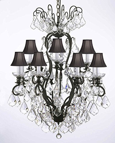 Wrought Iron Crystal Chandelier Lighting With Black Shades - F83-Blackshades/556/12